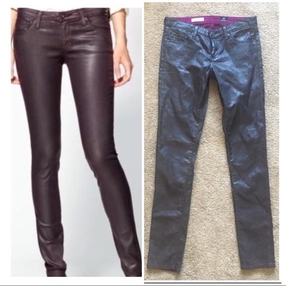 857ab7b94d38d7 Ag Adriano Goldschmied Pants - AG Waxed Coated Burgundy Skinny Legging Jeans  28